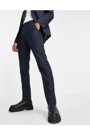 Twisted Tailor Suit pants with contrast pinstripes in navy