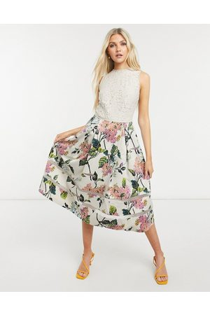 Oasis Floral midi dress in natural-Multi