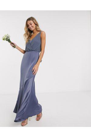 Oasis Women Maxi Dresses - Bridemaid slinky bow back maxi dress in slate-Neutral