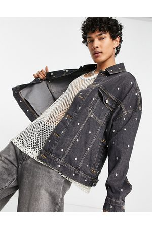 ASOS Oversized denim jacket with stud detail in washed