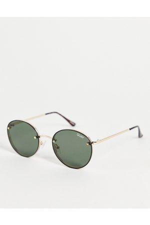 Quay Australia Quay Farrah unisex round sunglasses in with green lens
