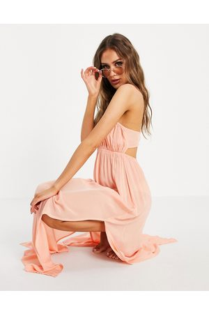 ASOS Bustier beach maxi beach dress in washed coral