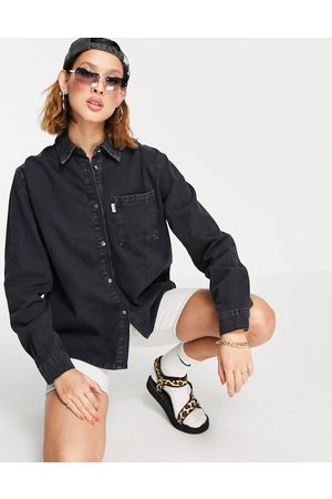 The Ragged Priest Oversized denim shirt in charcoal wash-Grey