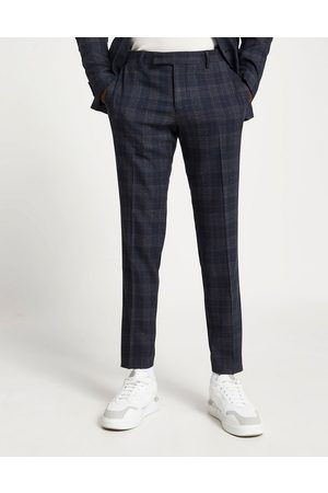 River Island Skinny suit pants in navy check