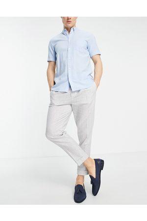 ASOS Tapered smart pants in stripe linen-Grey