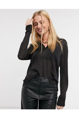 Whistles Long sleeve sparkle top in
