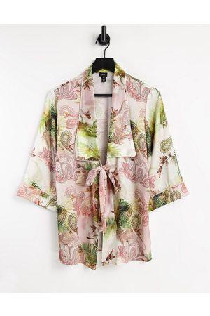 River Island Paisley satin pajama kimono in - part of a set