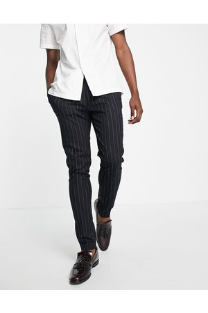 ASOS Tapered smart pants in navy stripe