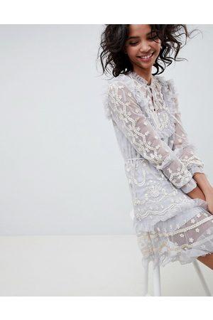 Needle & Thread Long sleeve embroidered midi dress in vintage