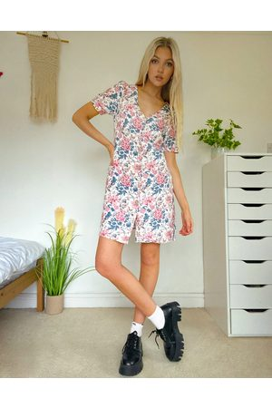 Oasis Button up dress in floral print-Multi