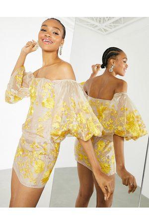 ASOS Embroidered organza off-the-shoulder midi dress-Multi