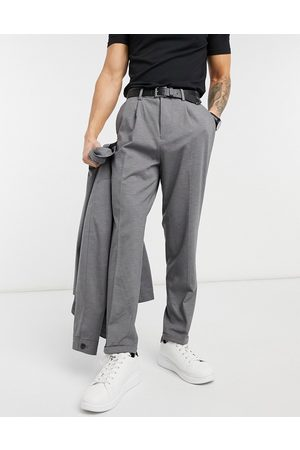 SELECTED Jersey suit pants in tapered crop fit -Grey