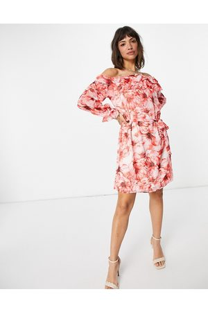 VILA Off shoulder mini dress in abstract red floral-Multi