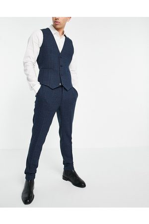 ASOS Super skinny wool mix suit pants with multi grid check in navy