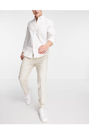 Twisted Tailor Suit pants in window pane check stone-Neutral