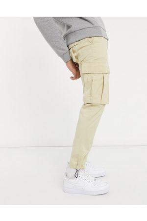 Topman Skinny belted cargo pants in stone-Neutral