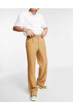 ASOS Wide leg wool mix pants in herringbone