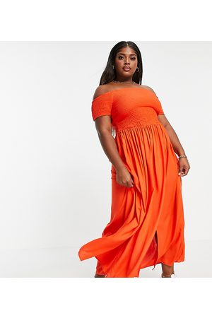 Yours Exclusive shirred bardot maxi dress in washed