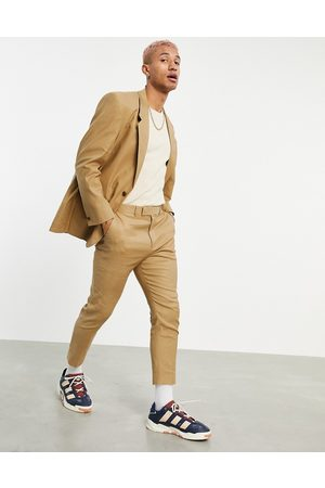 ASOS Tapered suit pants in tobacco linen mix