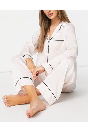 ASOS Satin long sleeve shirt & pants pajama set in pink