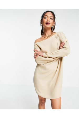 ASOS Slouchy off shoulder mini shift dress in champagne