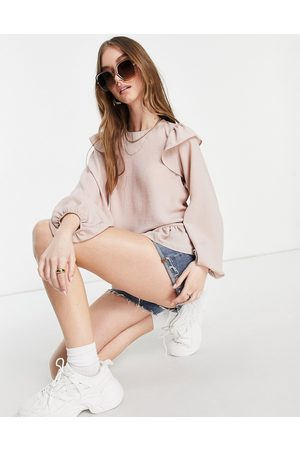 ASOS Long sleeve top with ruffle detail in washed rose-No color