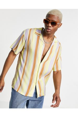 Pull&Bear Shirt with revere collar in & beige vertical stripes