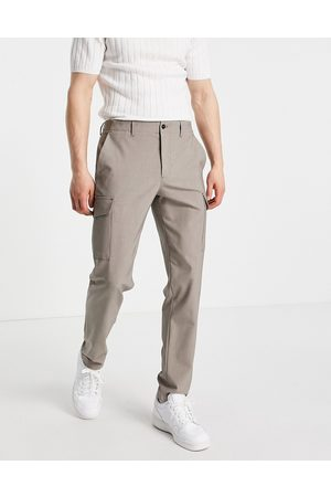 SELECTED Slim tapered cargo pants in sand