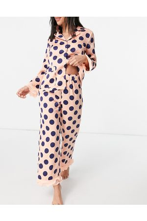 Y.A.S Exclusive shirt and pants pajama set with organza trim in pink and navy spot print-Multi