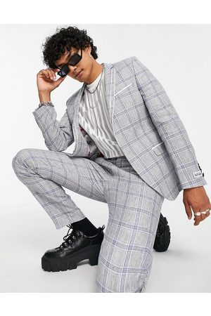Twisted Tailor Linen suit jacket with double piping in blue check