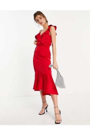 Oasis Satin dress with fishtail in