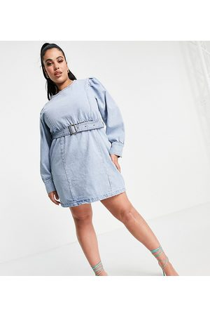 Missguided Long sleeve denim dress with belt in blue-Blues