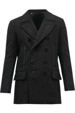 Tom Ford Leather-trimmed Melton Wool-blend Peacoat - Mens
