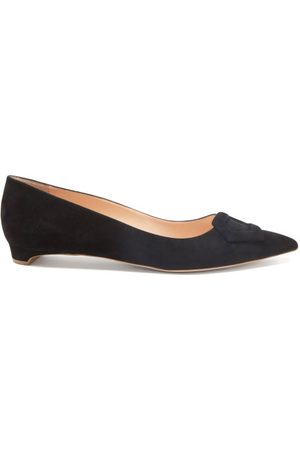 Rupert Sanderson Women Flat Shoes - Hemploe Point-toe Suede Flats - Womens