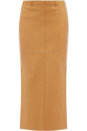 PETAR PETROV Rubi Side-slit Leather Midi Skirt - Womens - Camel