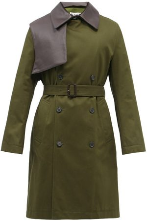Loewe Leather-panel Cotton-twill Trench Coat - Mens