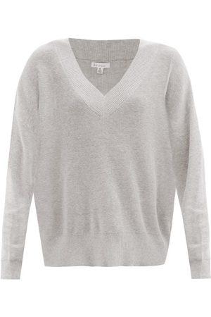 Skin Wakely V-neck Organic Cotton-blend Sweater - Womens - Light Grey