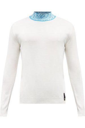Fendi Ff Vertigo-jacquard High-neck Wool-blend Sweater - Mens