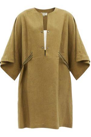 ZEUS+DIONE Women Party Dresses - Thebes Mini Linen Kaftan Dress - Womens - Khaki