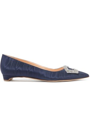 Rupert Sanderson Hemploe Point-toe Crystal-buckle Moiré Flats - Womens - Navy