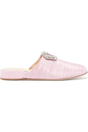 Rupert Sanderson Bulolo Crystal-buckle Moiré Backless Loafers - Womens