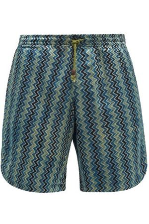 SMR Days Hiri Zigzag-print Canvas Shorts - Mens - Multi