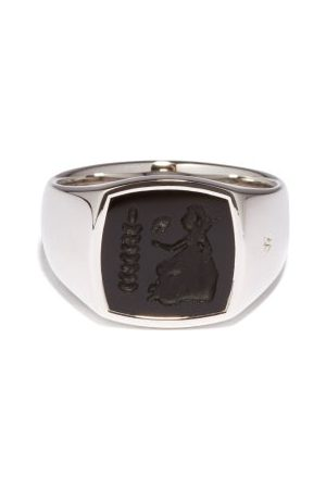 TOM WOOD Athena Onyx Cameo & Sterling Ring - Mens