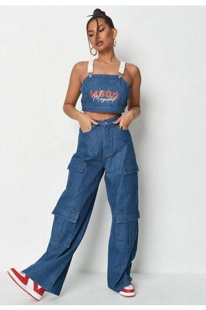 Missguided Women Wide Leg - Deep Co Ord Wide Leg Utility Jeans