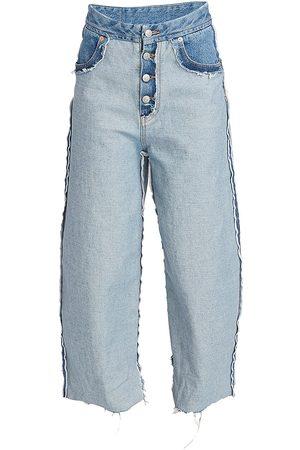 MM6 MAISON MARGIELA Women Wide Leg - Women's Inside Out Wide Leg Jeans - Seasonal Light - Size 8