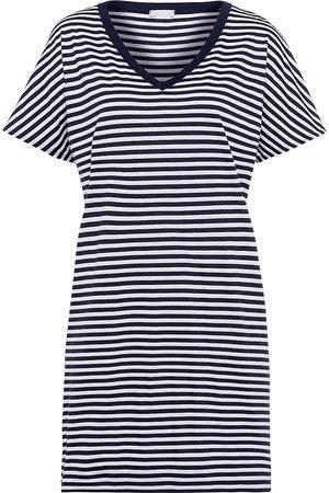 Hanro Women's Laura Striped Sleepshirt - Midnight Stripe - Size Large