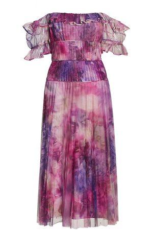 Marchesa Notte Women's Off-The-Shoulder Pleated Tulle Dress - Mauve - Size 14