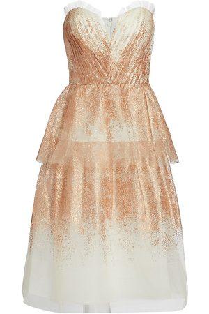 Marchesa Notte Women's Strapless Sweetheart Neckline Gown - Ivory - Size 8