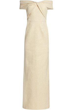 Saks Fifth Avenue Women Strapless Dresses - Women's Metallic Off-The-Shoulder Gown - - Size 12