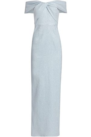 Saks Fifth Avenue Women's Metallic Off-The-Shoulder Gown - Ice - Size 8